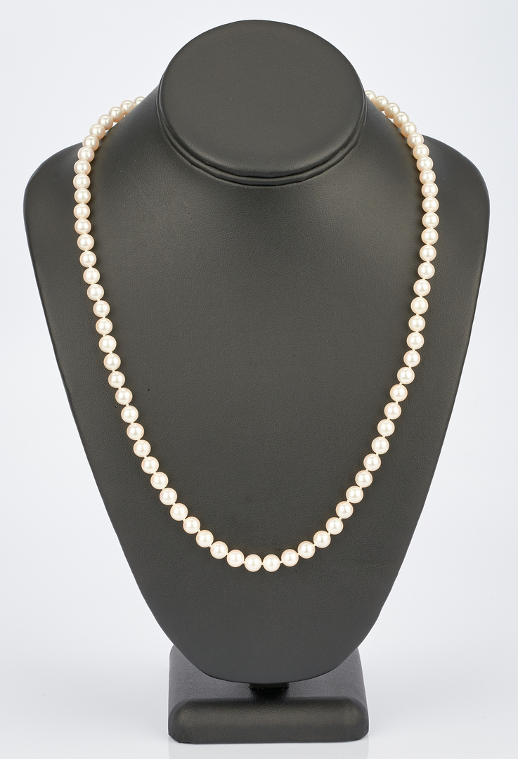 Lot 720: Mikimoto Pearls w/ 18K Yellow Gold Clasp