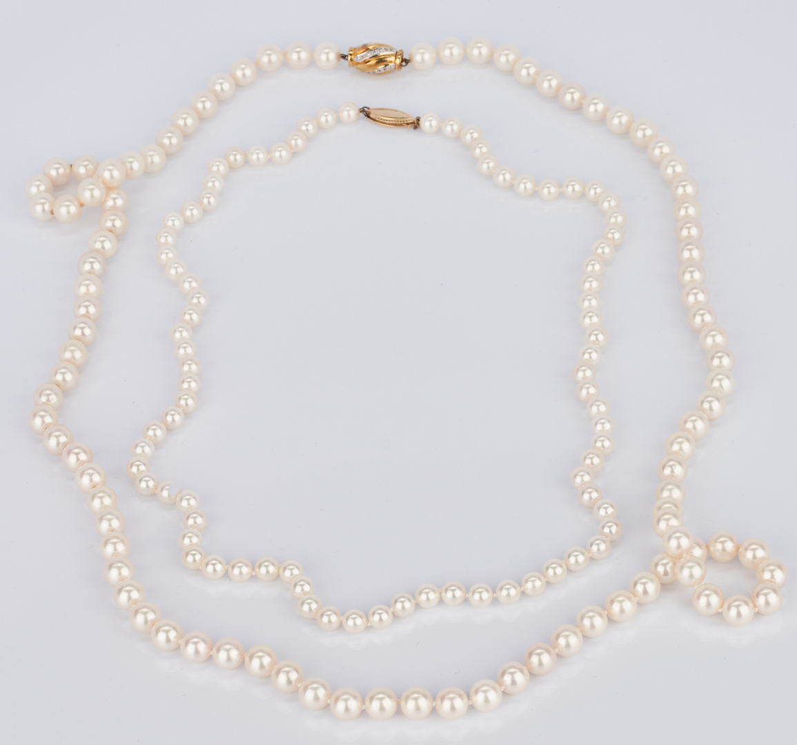 Lot 721: 2 14K Ladies Cultured Pearl Necklaces