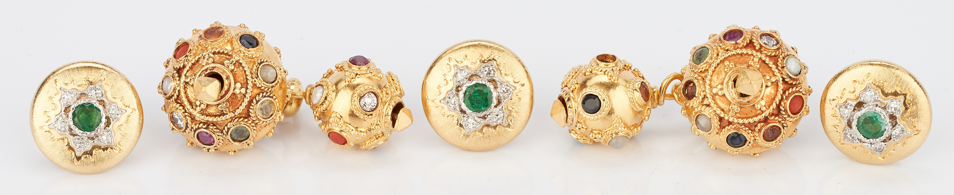 Lot 723: Three 18K Buccellati Button Cuffs & Pr. 18K Multistone Cufflinks