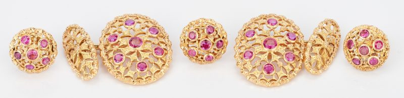 Lot 724: 18K Buccellati Ruby Cuff Links & Button Cuffs