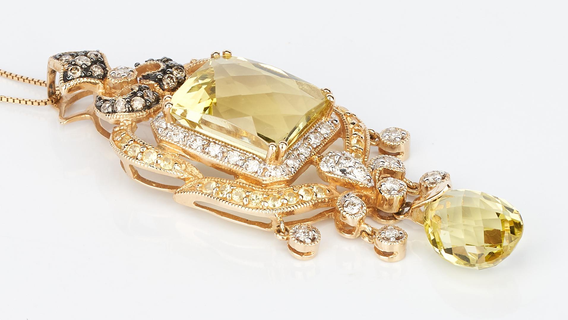 Lot 727: 14K Diamond & Citrine Pendant Necklace & 18K Sapphire Ring