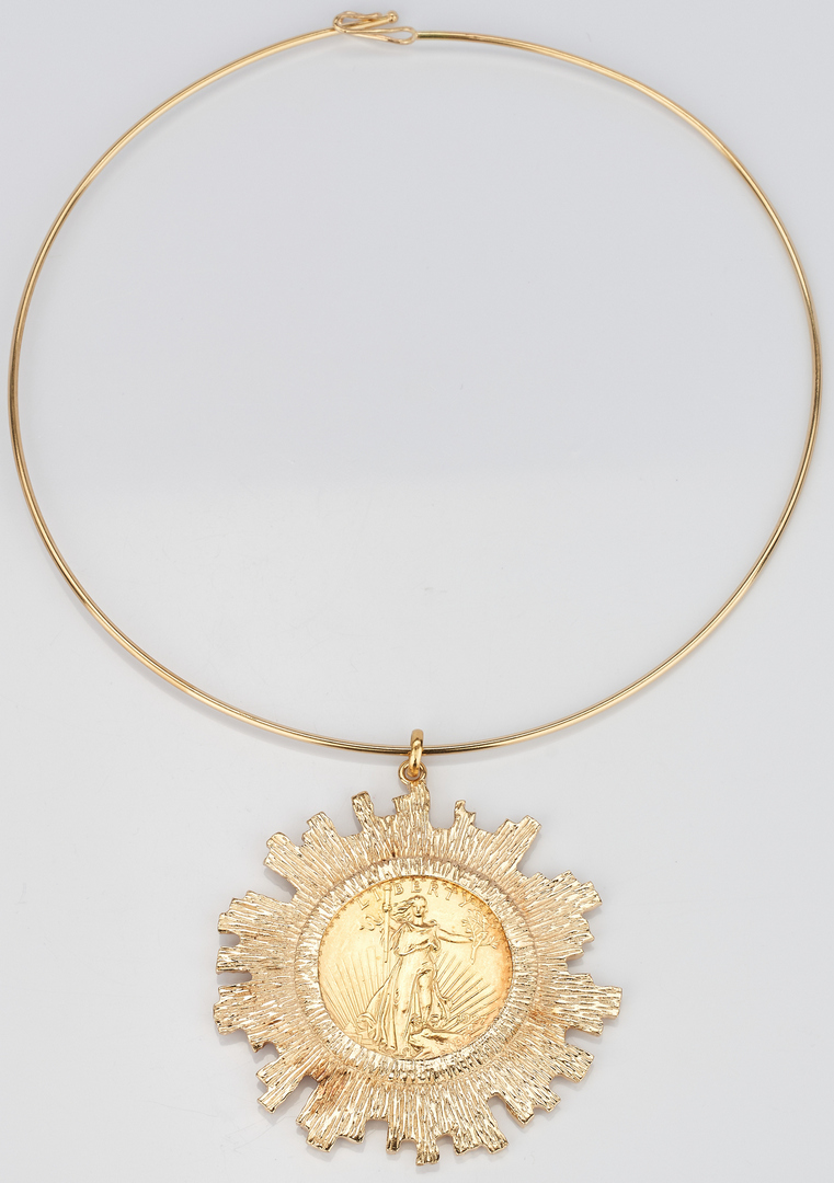 Lot 728: 1927 St. Gaudens $20 Gold Coin Mounted in Bezel with Choker Necklace