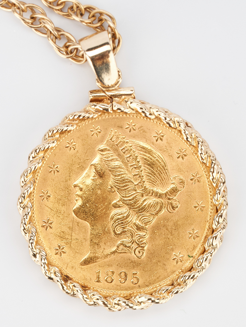 Lot 729: 1895 Liberty $20 Gold Coin, Mounted