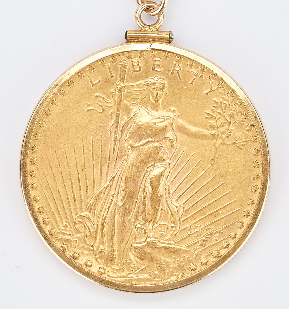 Lot 731: 1927 $20 Saint-Gaudens Gold Coin, Mounted