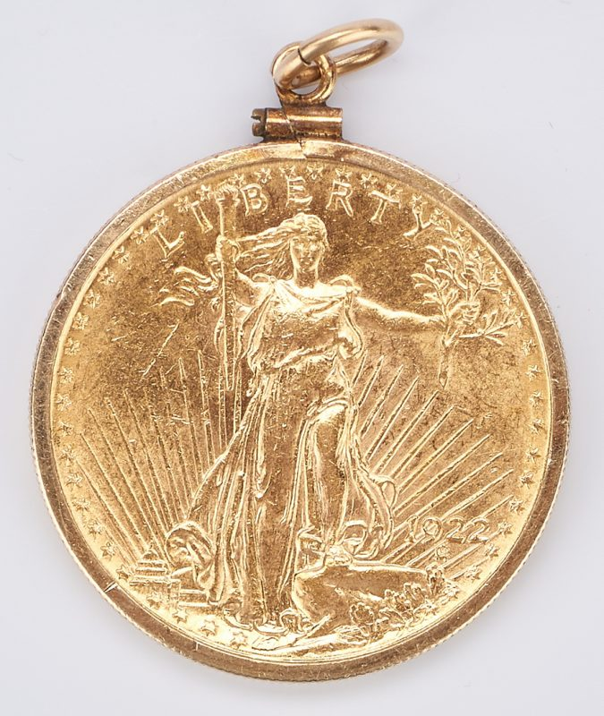 Lot 732: 1922 $20 Saint-Gaudens Gold Coin, Mounted