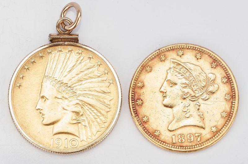 Lot 734: 2 U.S. $10 Gold Coins, incl. 1897 Liberty Head, 1910 Indian Head