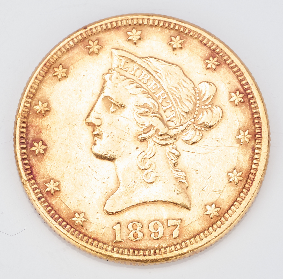 Lot 734: 2 U.S. $10 Gold Coins, incl. 1897 Liberty Head, 1910 Indian Head