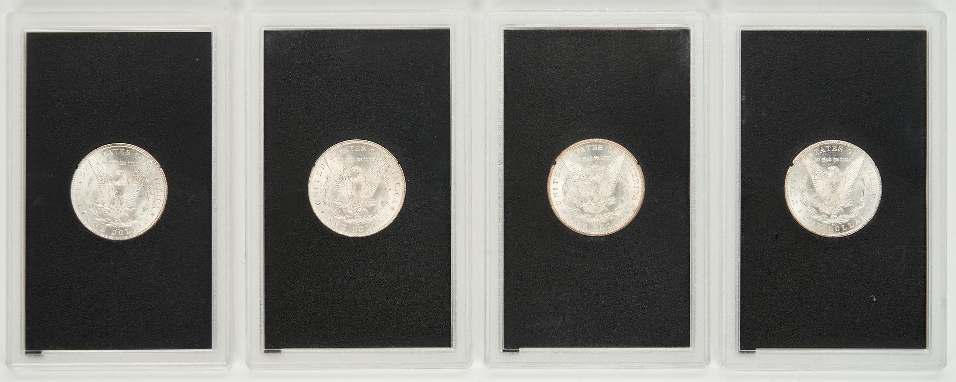 Lot 741: 4 GSA Morgan CC Silver Dollars, Uncirculated & Mixed
