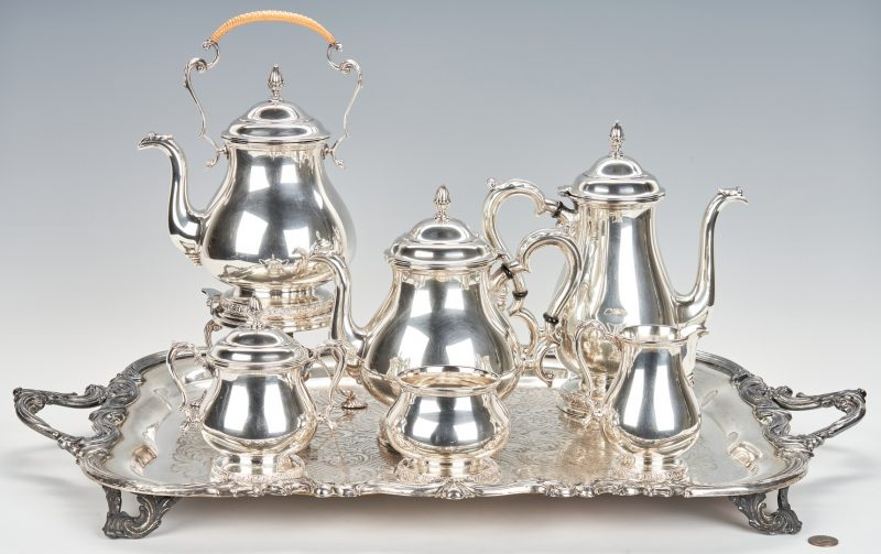 Lot 743: International Prelude Sterling Silver Tea Service, S/P Tray