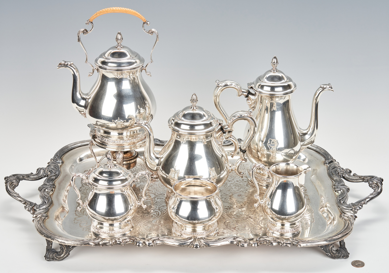 Lot 743: International Prelude Sterling Silver Tea Service, S/P Tray