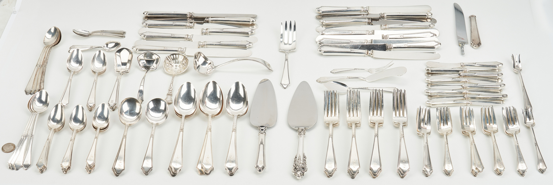 "Lot 744: 126 pcs. Sterling ""Treasure"" Flatware & More"
