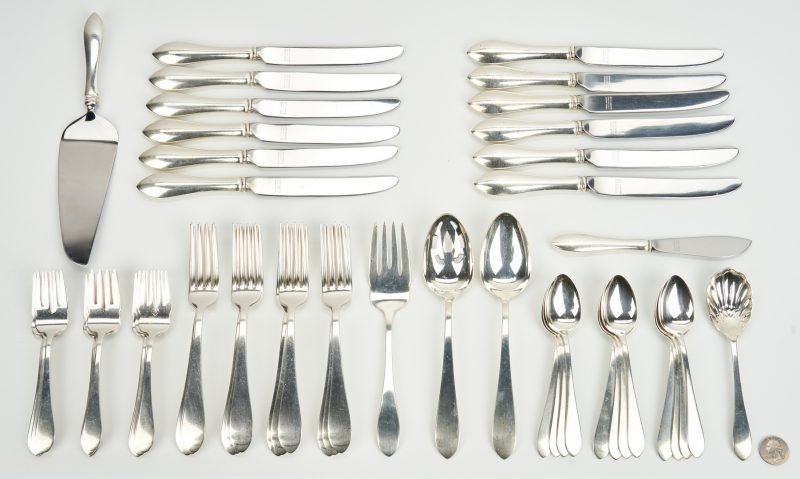 Lot 747: 54 pcs. Reed & Barton Pointed Antique Sterling Silver Flatware