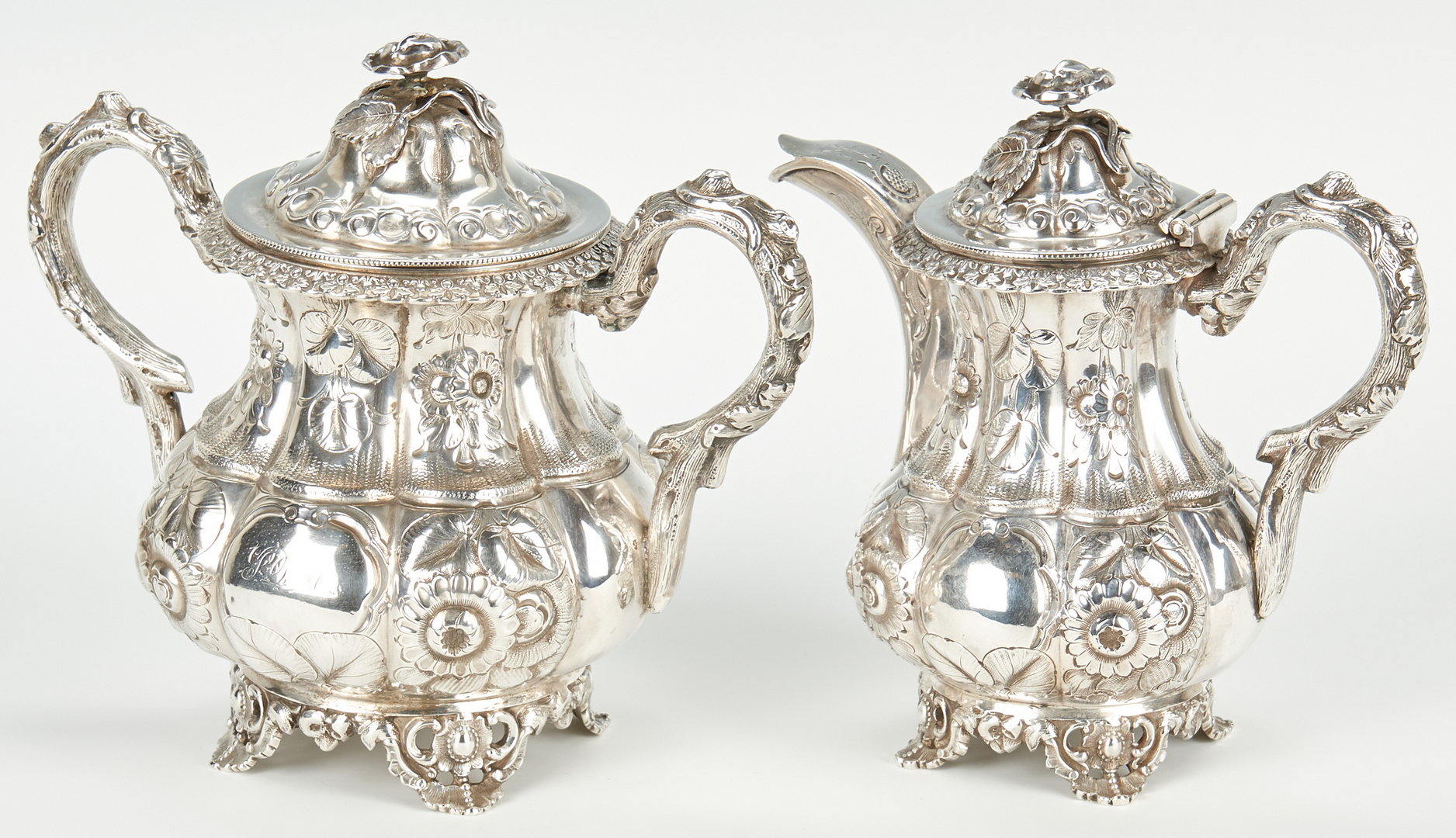 Lot 74: Alabama Coin Silver Sugar & Creamer, W. V. Moore