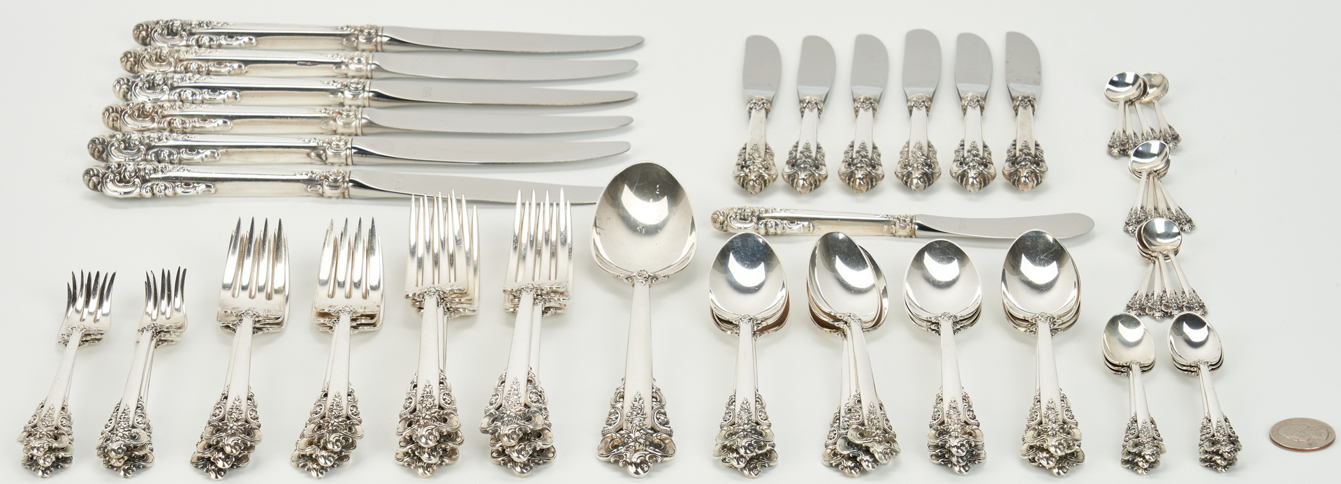 Lot 750: Wallace Grand Baroque Sterling Flatware, 62 Pcs.