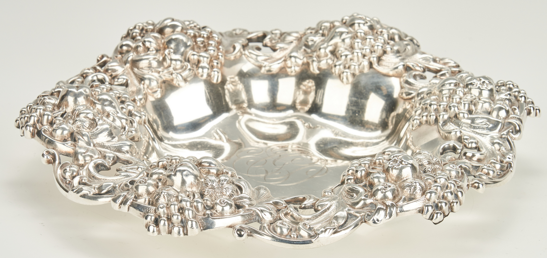 Lot 753: Large 1884 Gorham Sterling Bowl with Grape Border
