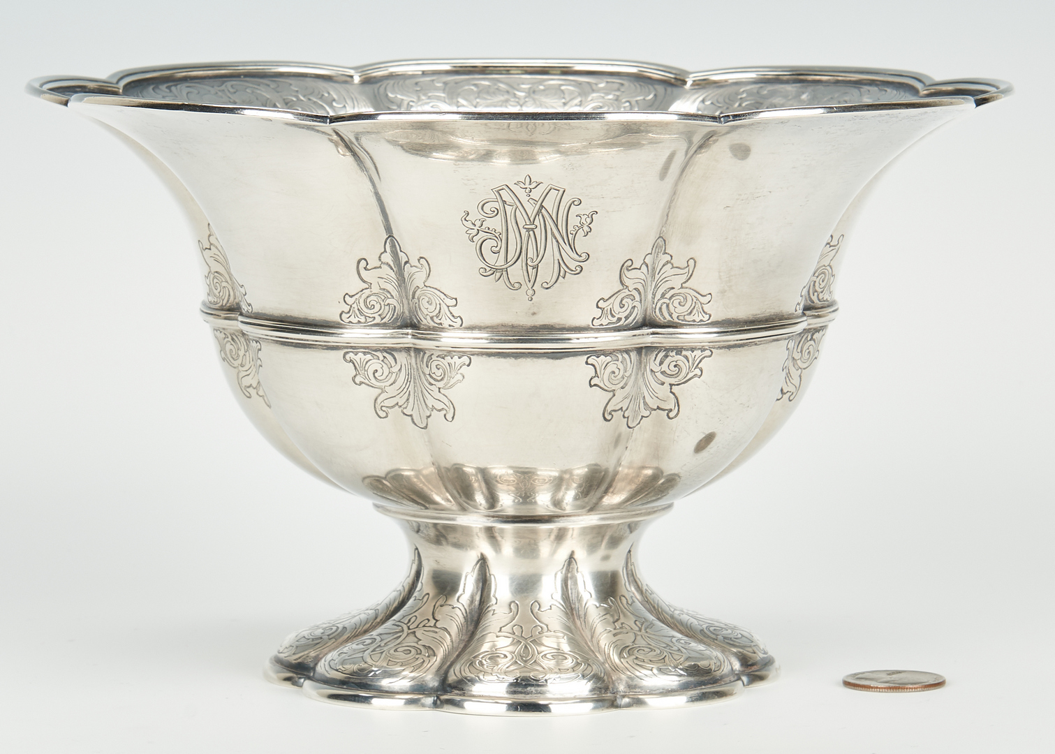 Lot 755: Tiffany & Co. Art Nouveau Sterling Silver Footed Bowl
