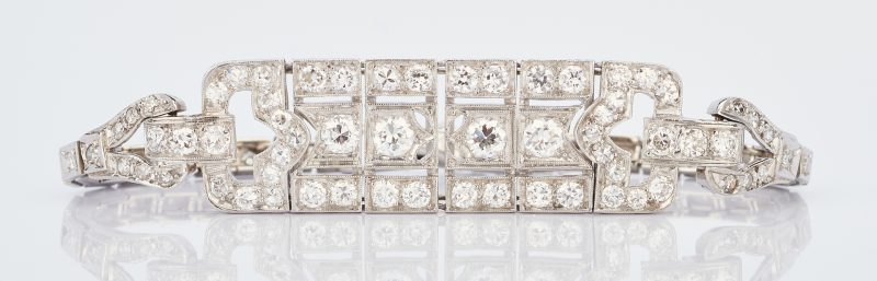 Lot 766: Art Deco 14K WG Diamond Bracelet