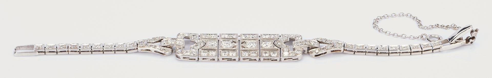 Lot 766: Art Deco 14K WG Diamond Bracelet