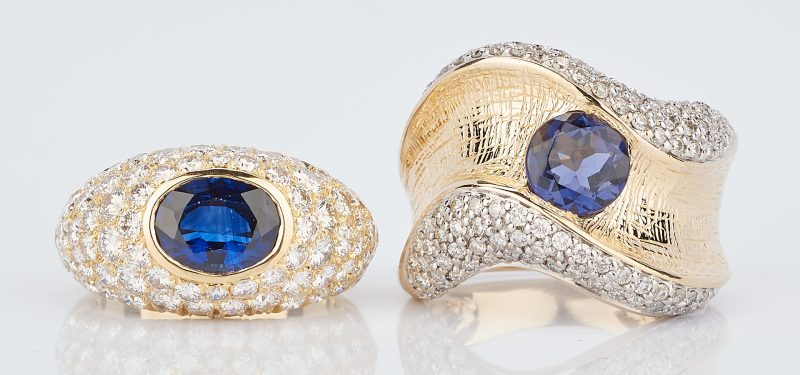 Lot 767: 2 Ladies Gold & Sapphire Rings