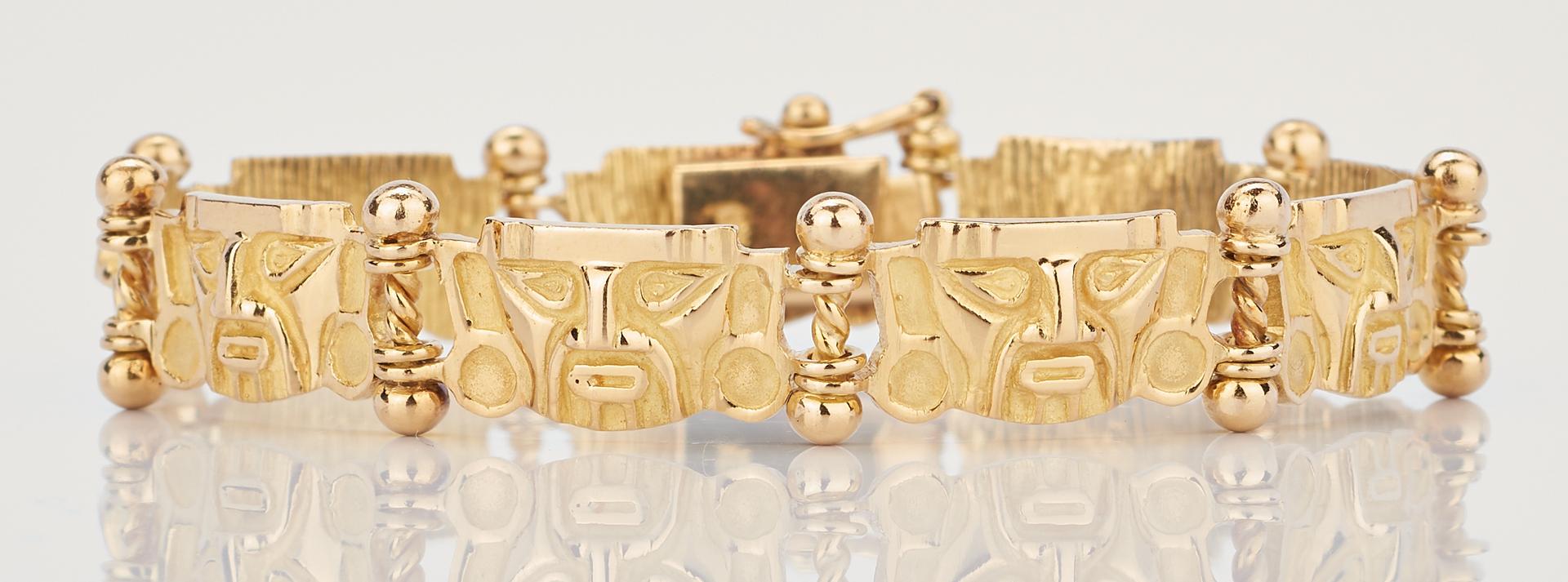 Lot 768: 18K Yellow Gold Pre-Columbian Style Bracelet