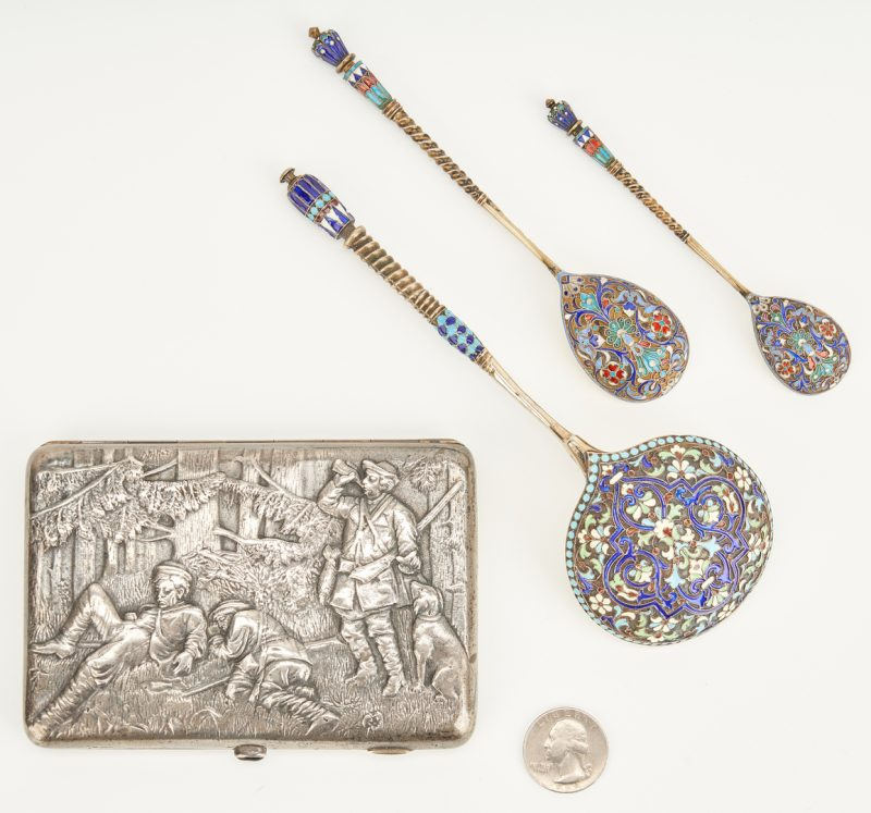Lot 76: 4 Pcs. Russian Silver, incl Enameled