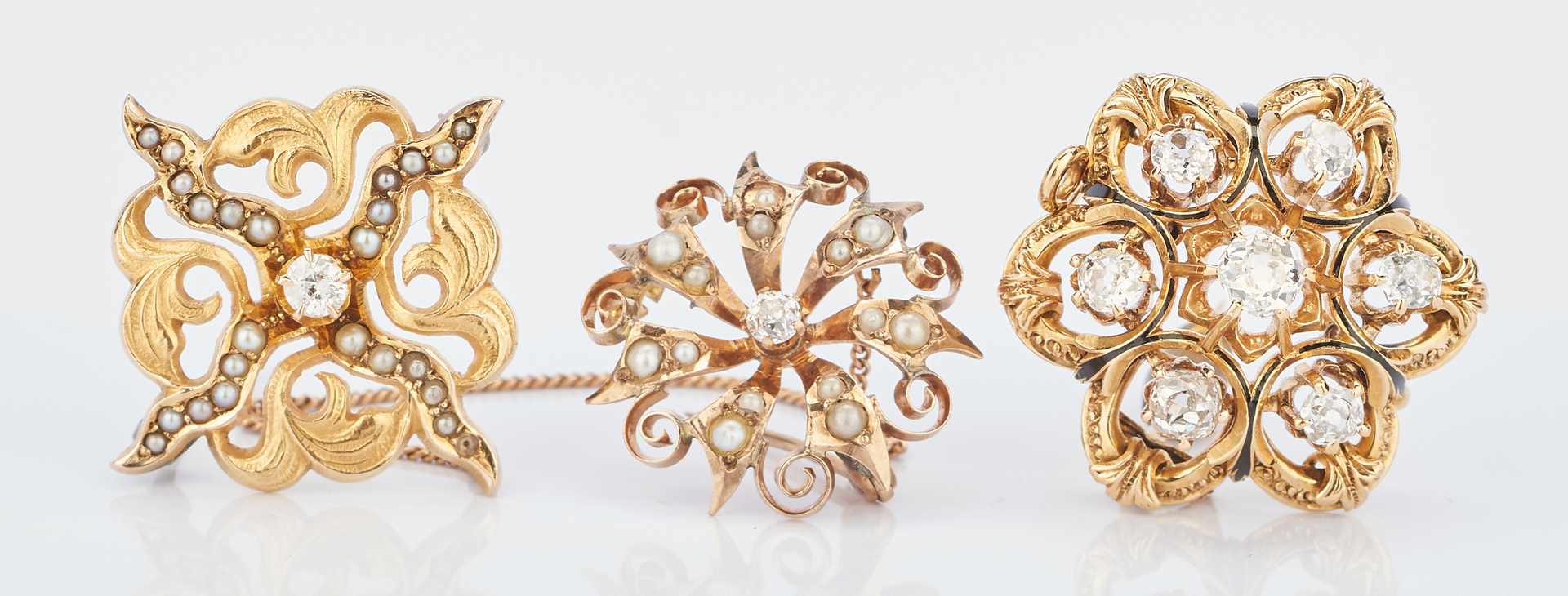 Lot 773: 3 Victorian Gold & Diamond Ladies Pins