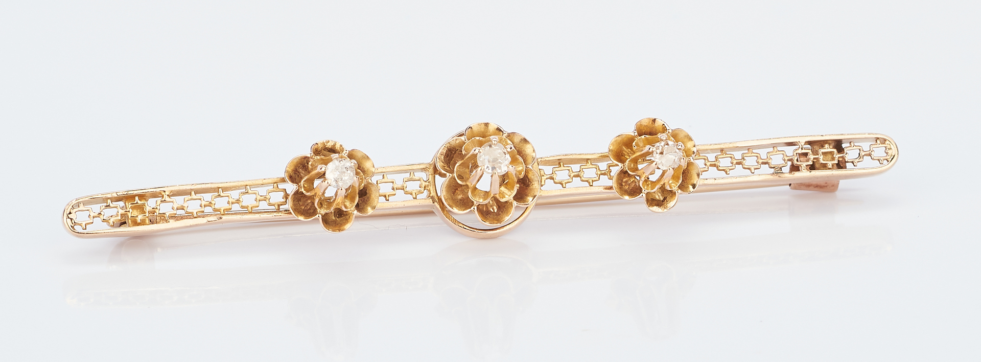 Lot 774: 3 Ladies Gold and Diamond Brooches