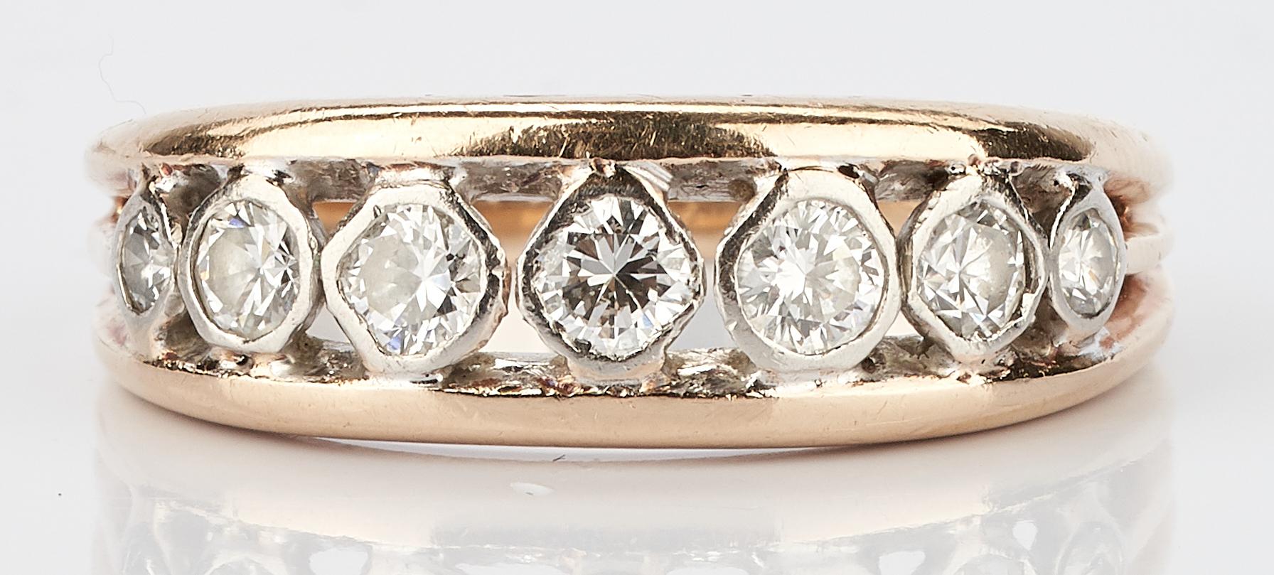 Lot 775: 5 18K & 14K Gold, Diamond, & Gemstone Jewelry Items