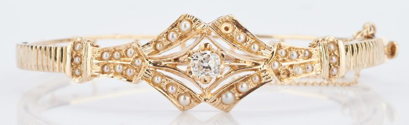 Lot 776: 14K Victorian Diamond & Pearl Bangle Bracelet