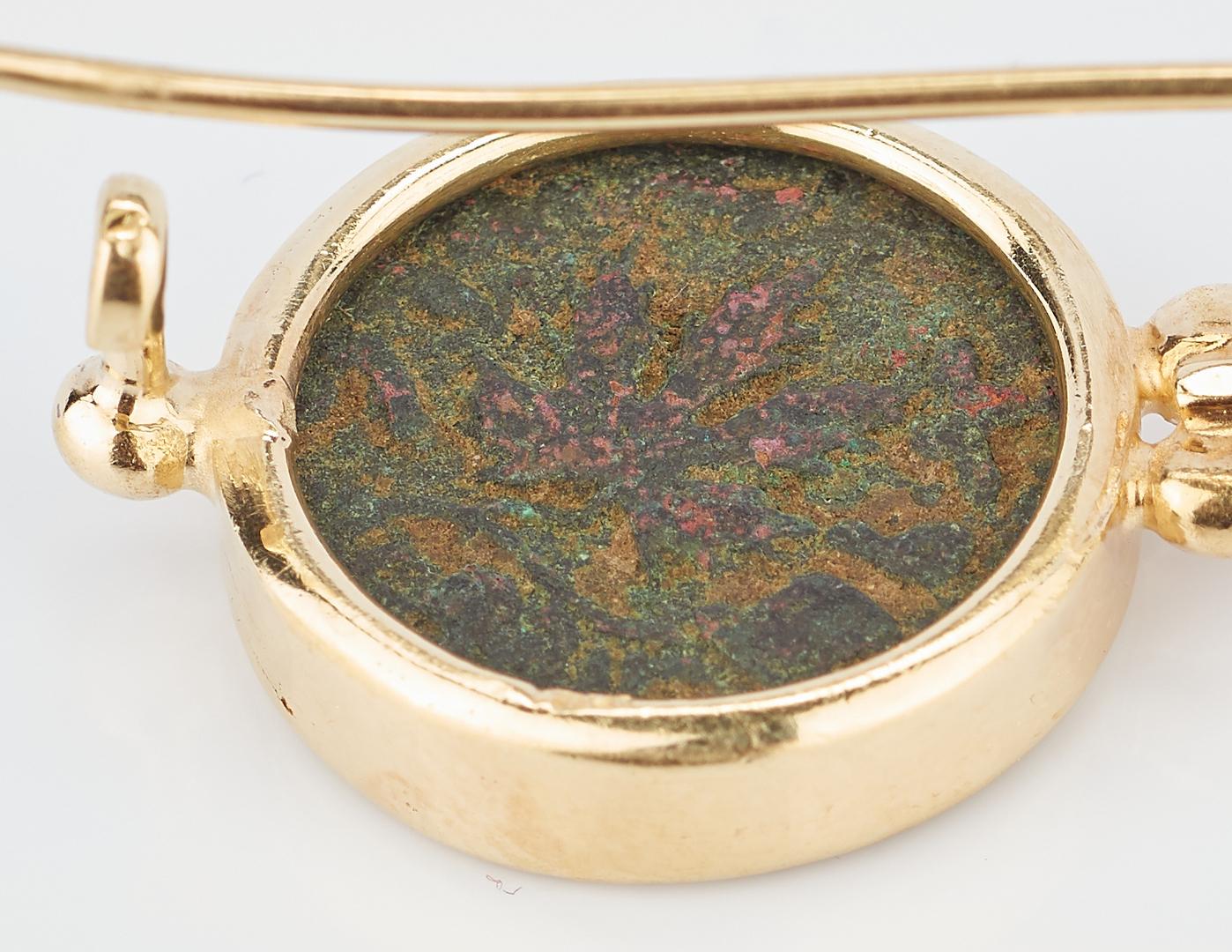 Lot 777: Ancient Israel Coin Earrings, Bezel mounted 18K