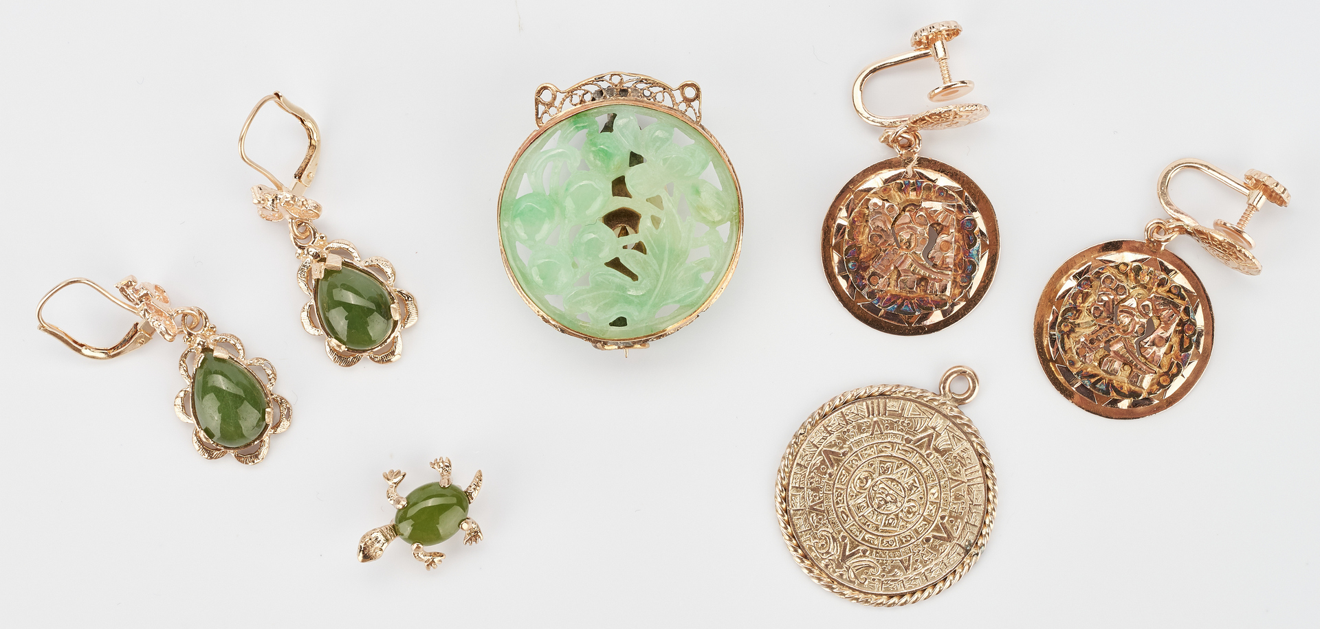 Lot 781: Group of 14K & Jade Jewelry Items, 7 total