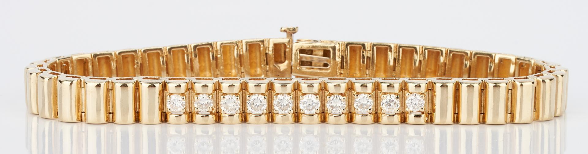 Lot 782: Ladies 14K Gold & Diamond Bracelet