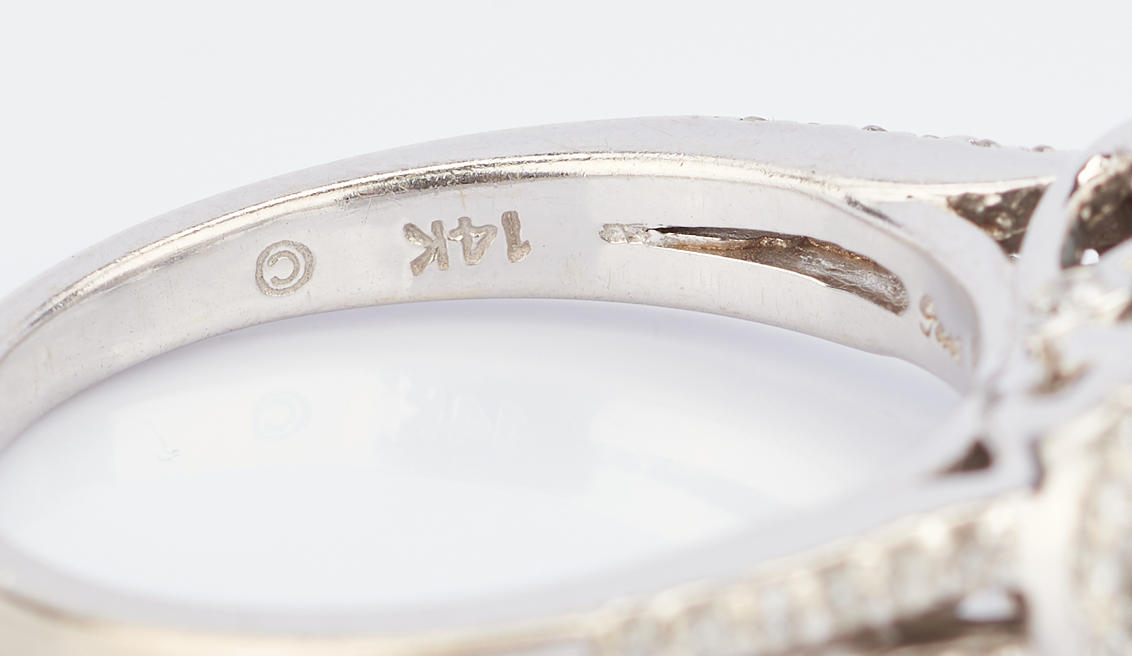 Lot 783: Past Present Future 14K White Gold Diamond Ring