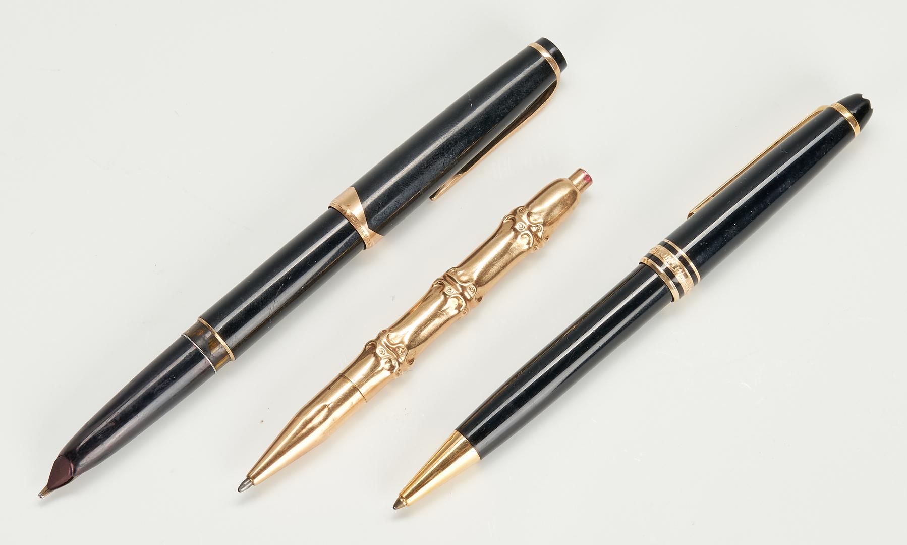 Lot 786: 5 Pens – 2 Montblanc, 2 gold color, 1 Marked 14k