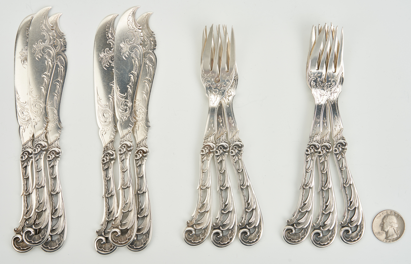 Lot 787: Carl Frey & Sohne Silver Fish Forks and Knives