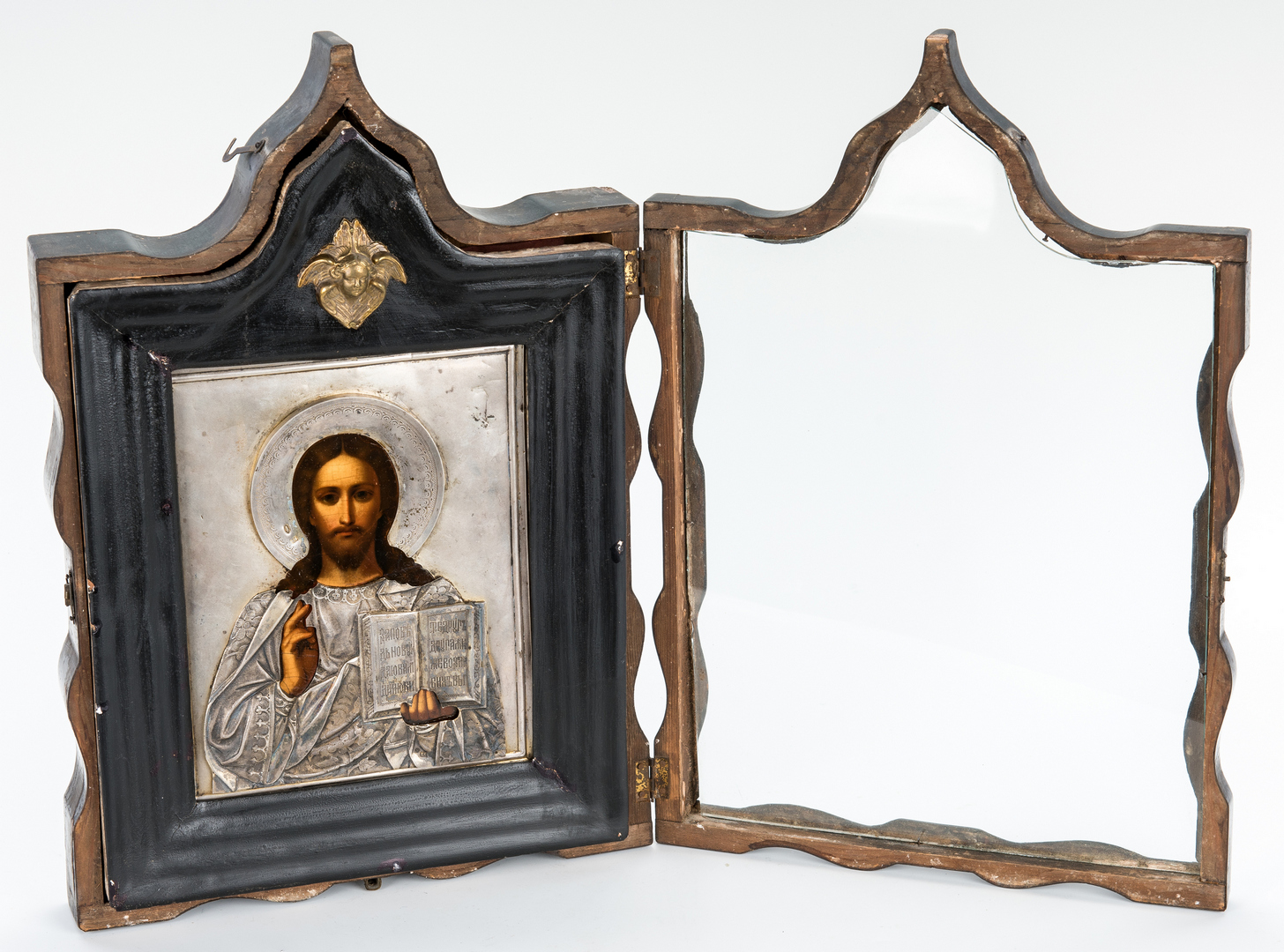 Lot 78: Framed Russian Icon with Silver Oklad