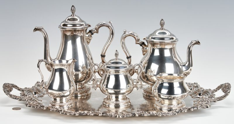 Lot 790: International Prelude 5-Piece Sterling Tea Service, E/P Tray