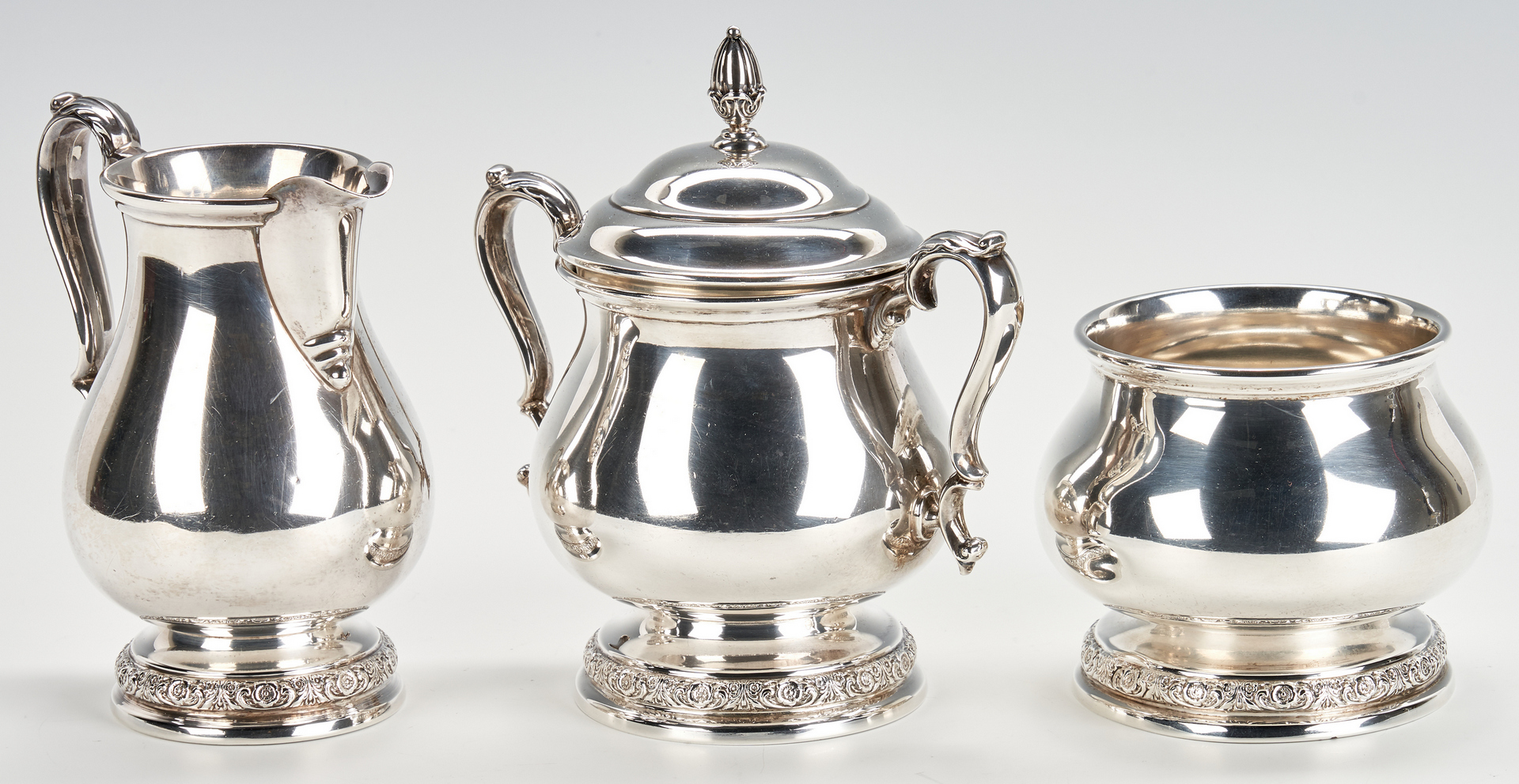 Lot 790: International Prelude 5-Piece Sterling Tea Service, E/P Tray