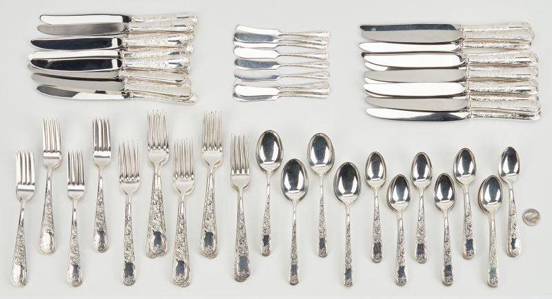 Lot 791: Kirk Old Maryland Engraved Sterling Flatware 95 pcs.