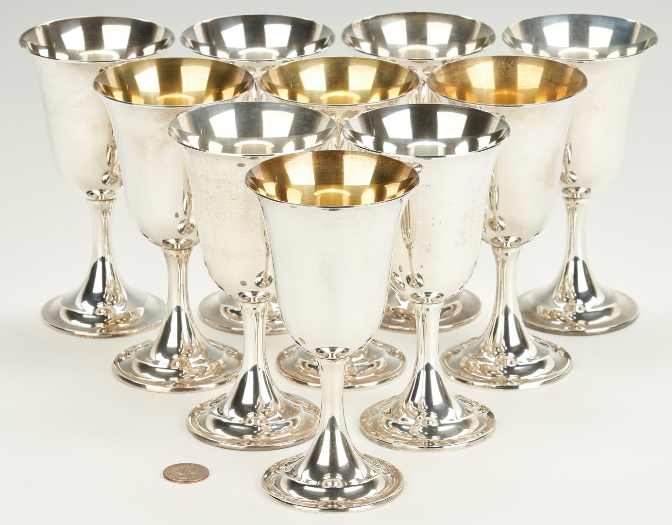 Lot 792: 10 International Lord Saybrook Sterling Goblets