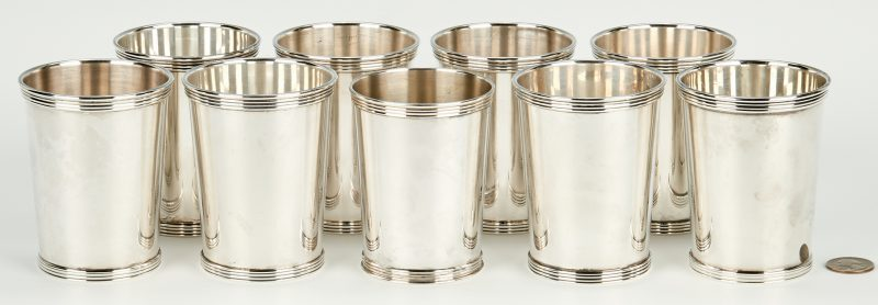 Lot 796: 9 International Silver Mint Julep Cups