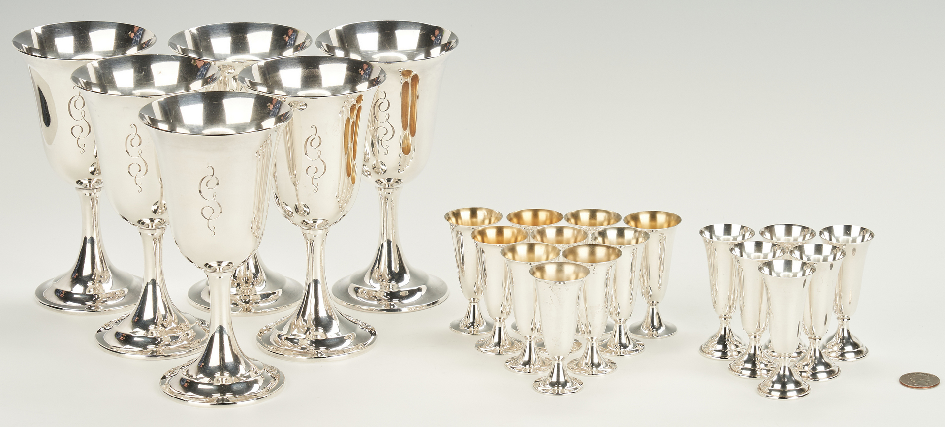 Lot 799: 22 Sterling Items, incl. Goblets, Cordials