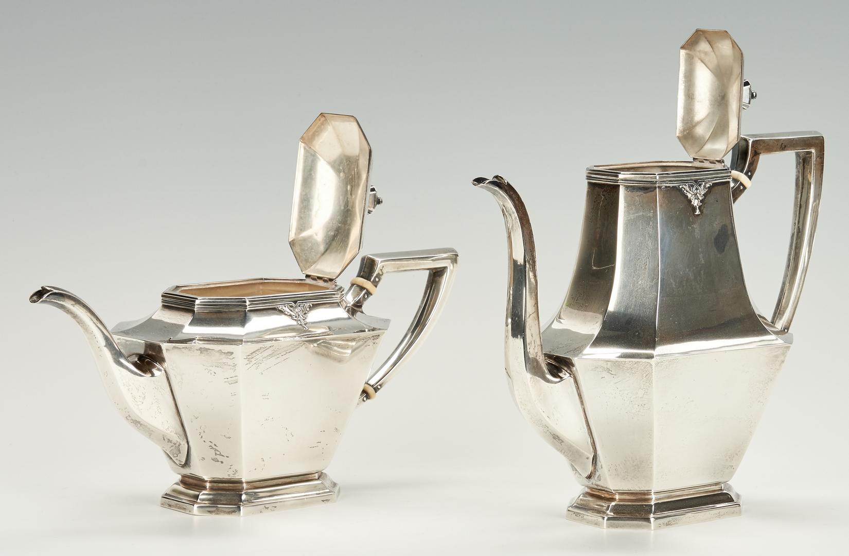 Lot 800: 5 Pc. Sterling Silver Tea Set, Treasure Pattern