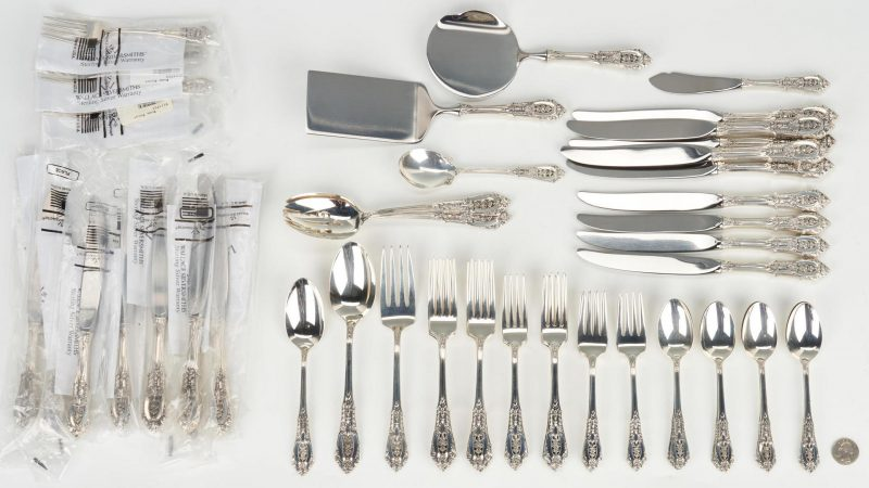 Lot 801: 52 Pcs. Wallace Rose Sterling Silver Flatware