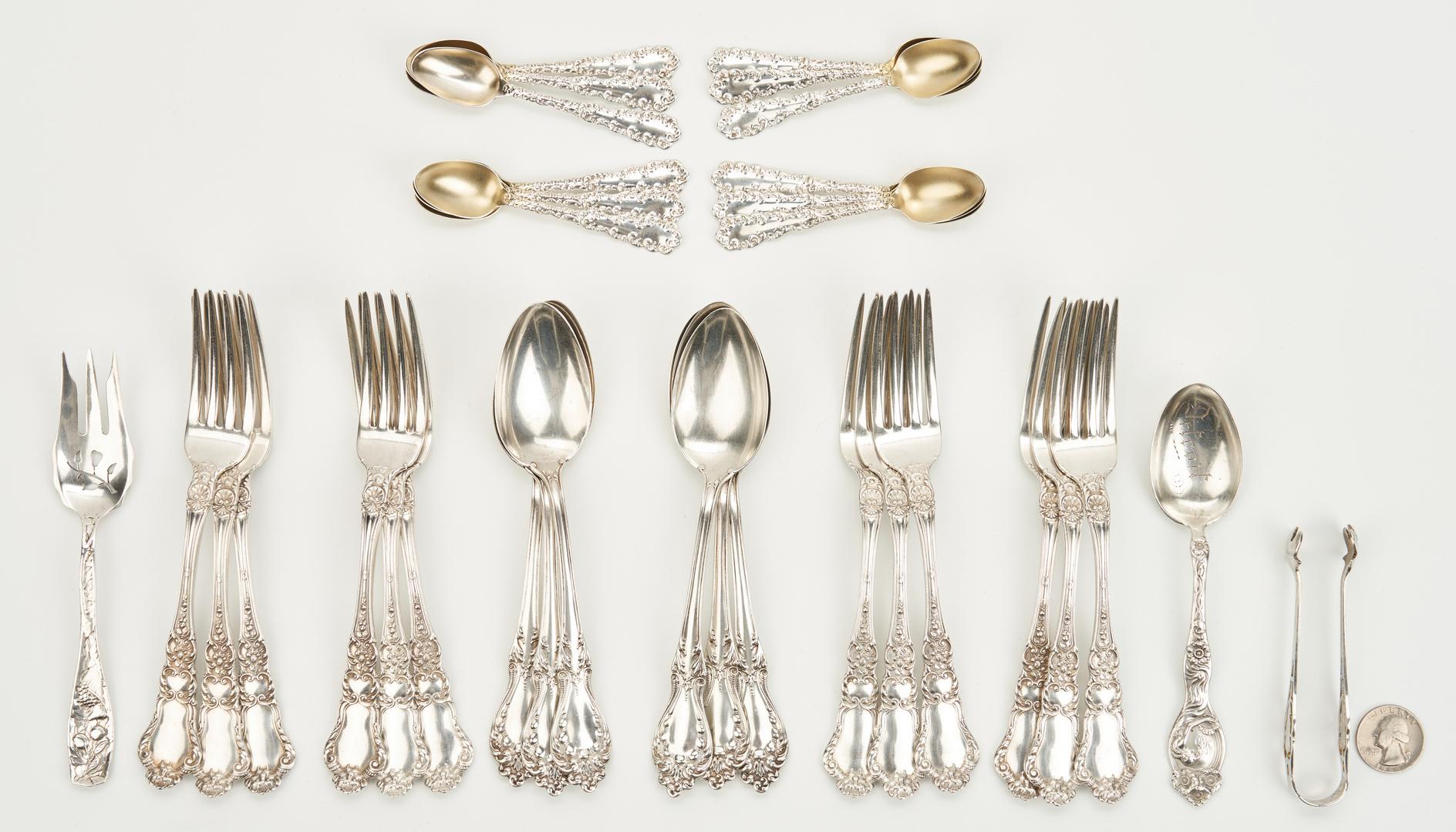 Lot 806: 33 pcs Antique Silver flatware, various patterns