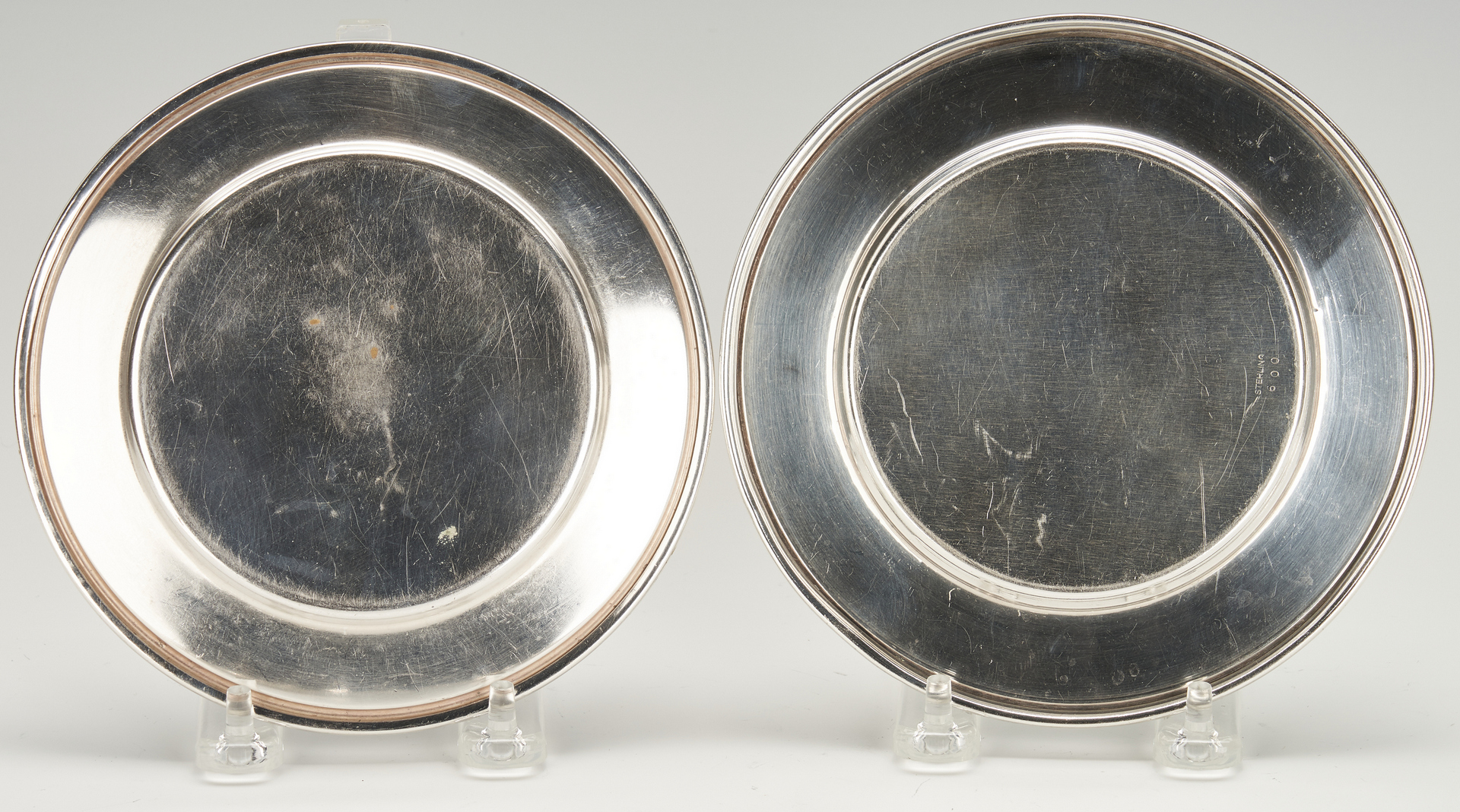 Lot 807: 11 pcs  Holloware: Bread Plates, Kirk candy dishes