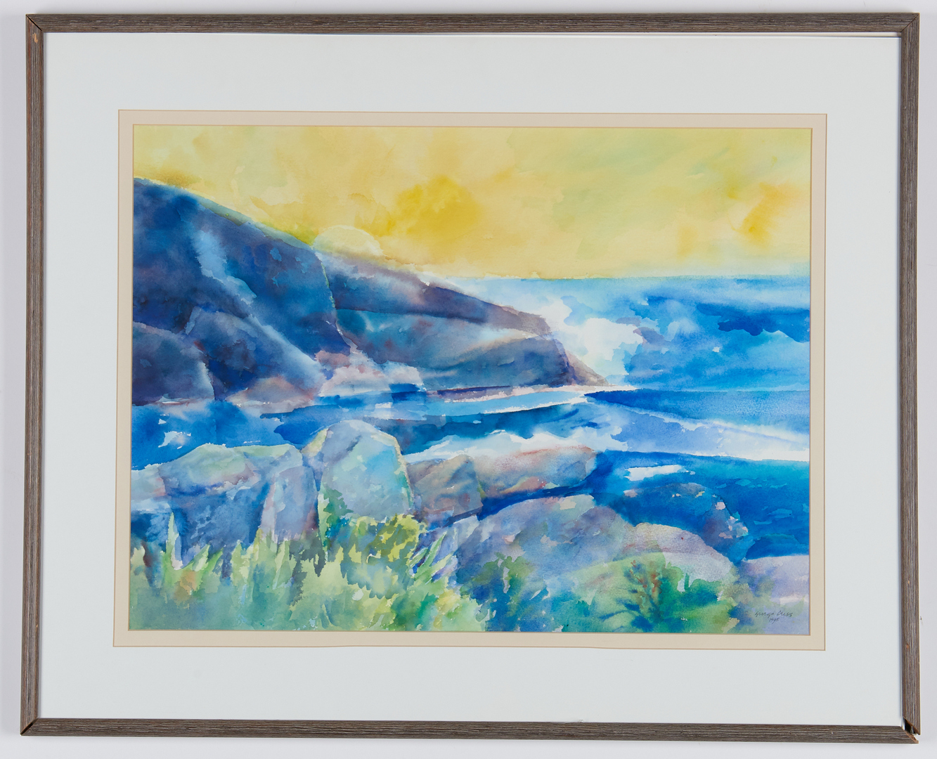 Lot 809: George Cress W/C Painting, Maine Sunrise