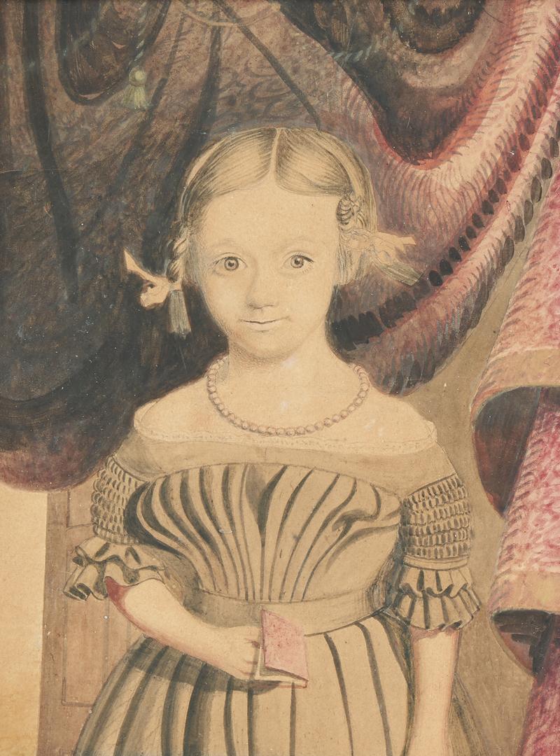 Lot 811: Folk Art Portrait of a Girl, poss. Southern