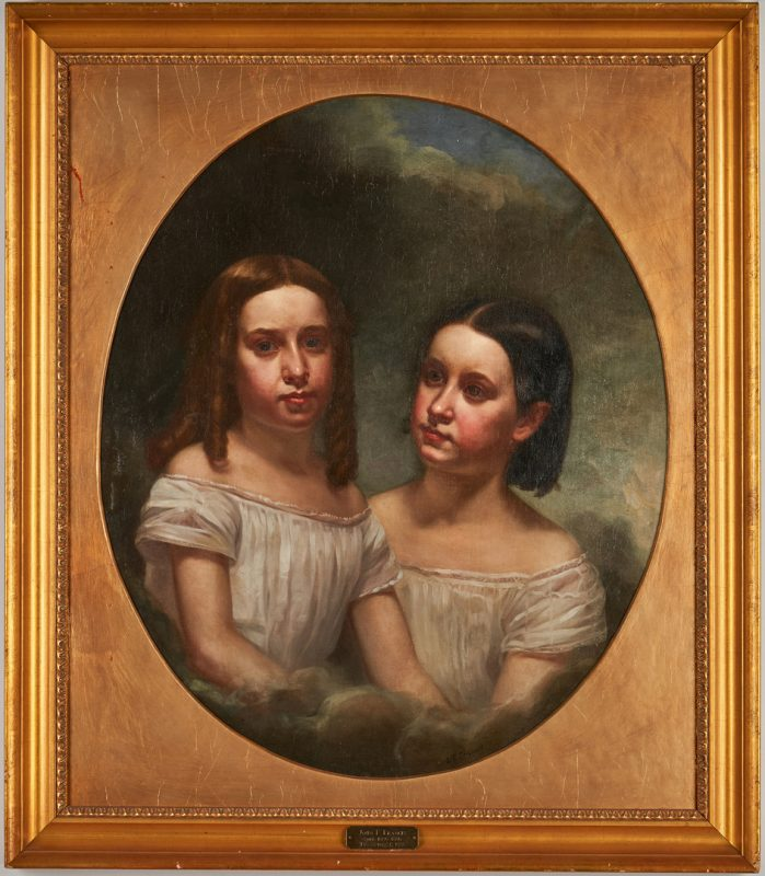 Lot 812: John Francis O/C Portrait Painting, Two Sisters