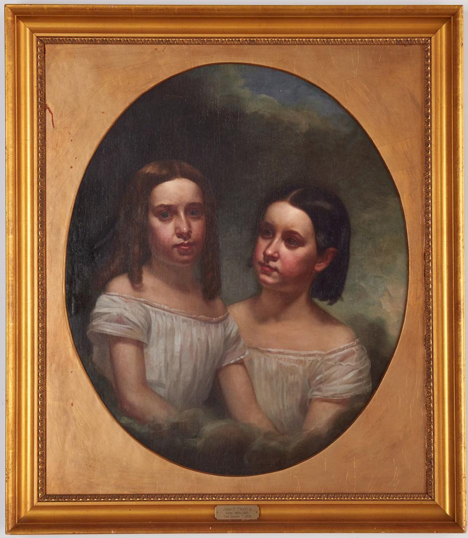 Lot 812: John Francis O/C Portrait Painting, Two Sisters